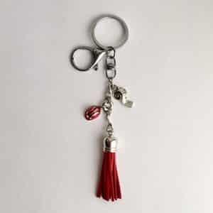 Red Hard Hat Tassel Key Ring-New