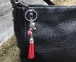 Red Hard Hat Tassel Key Ring-New on bag